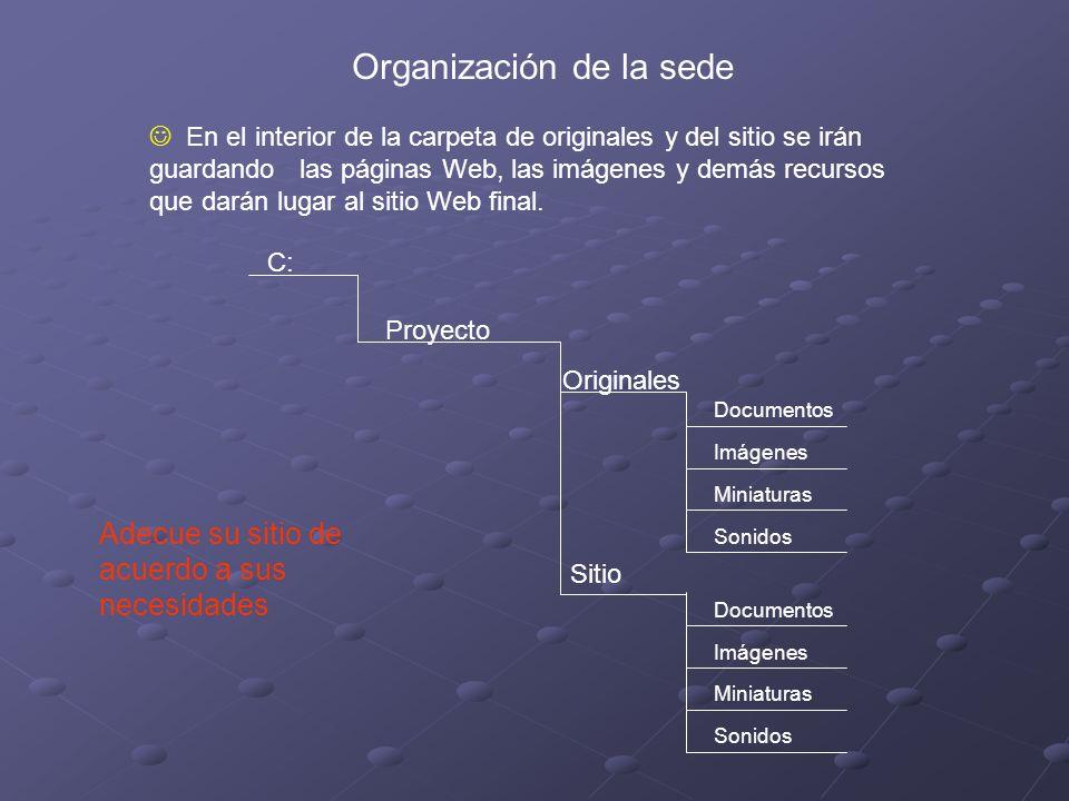 Organización de la sede En el interior de la carpeta de originales y del sitio se irán guardando las páginas Web, las imágenes y demás recursos que darán lugar al sitio Web final.