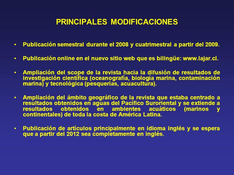 PRINCIPALES MODIFICACIONES Modificación del Comité Editorial en 1 Editor Jefe y 4 Editores Asociados, incorporando dos extranjeros.