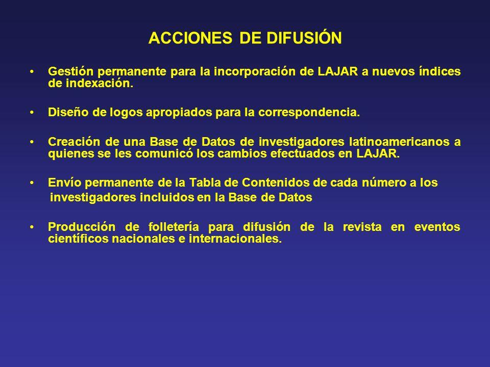 ACCIONES DE DIFUSIÓN Gestión permanente para la incorporación de LAJAR a nuevos índices de indexación. Diseño de logos apropiados para la corresponden