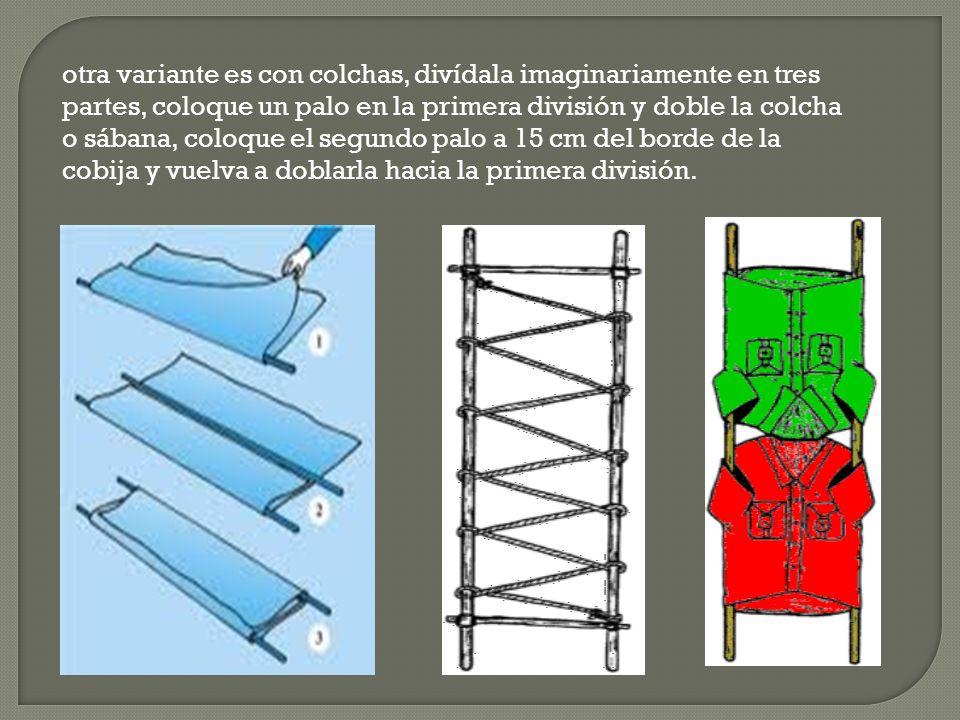 otra variante es con colchas, divídala imaginariamente en tres partes, coloque un palo en la primera división y doble la colcha o sábana, coloque el s