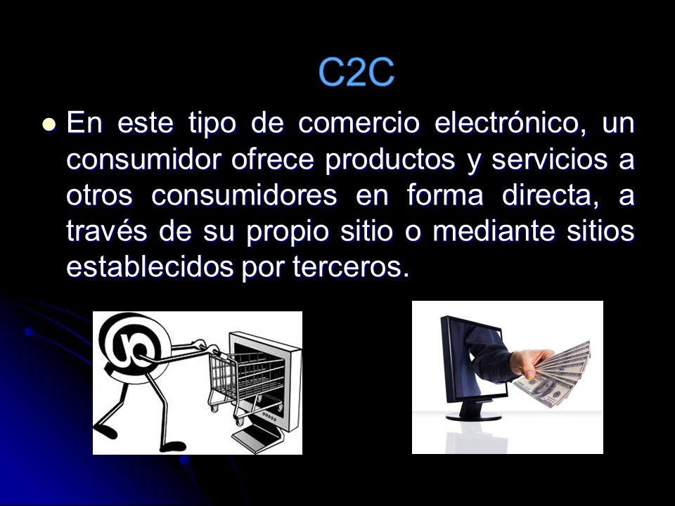 En este tipo de comercio electrónico, un consumidor ofrece productos y servicios a otros consumidores en forma directa, a través de su propio sitio o mediante sitios establecidos por terceros.