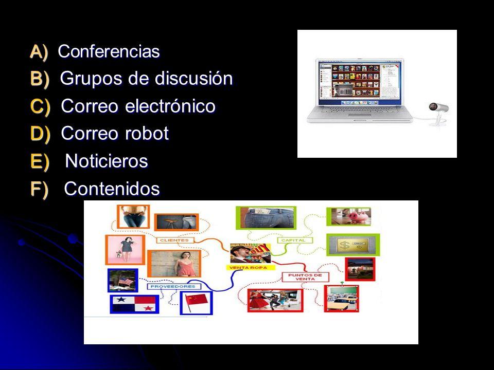 A) Conferencias B) Grupos de discusión C) Correo electrónico D) Correo robot E) Noticieros F) Contenidos