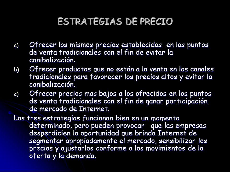 ESTRATEGIAS DE PRECIO a) Ofrecer los mismos precios establecidos en los puntos de venta tradicionales con el fin de evitar la canibalización.