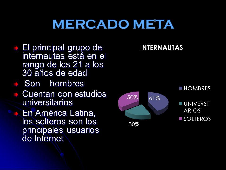 El principal grupo de internautas está en el rango de los 21 a los 30 años de edad Son hombres Son hombres Cuentan con estudios universitarios En América Latina, los solteros son los principales usuarios de Internet