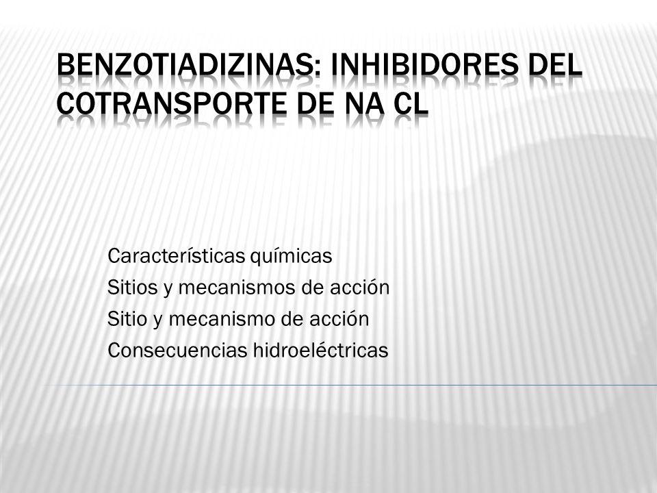 Características químicas Sitios y mecanismos de acción Sitio y mecanismo de acción Consecuencias hidroeléctricas