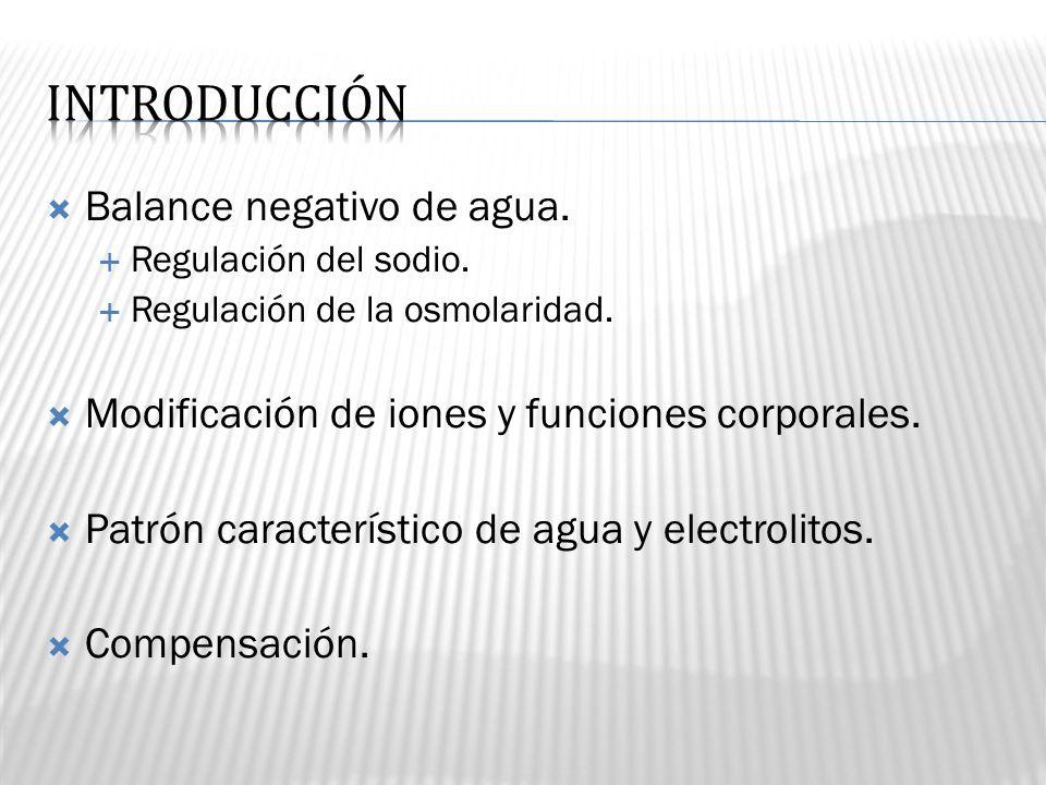 Balance negativo de agua. Regulación del sodio. Regulación de la osmolaridad. Modificación de iones y funciones corporales. Patrón característico de a