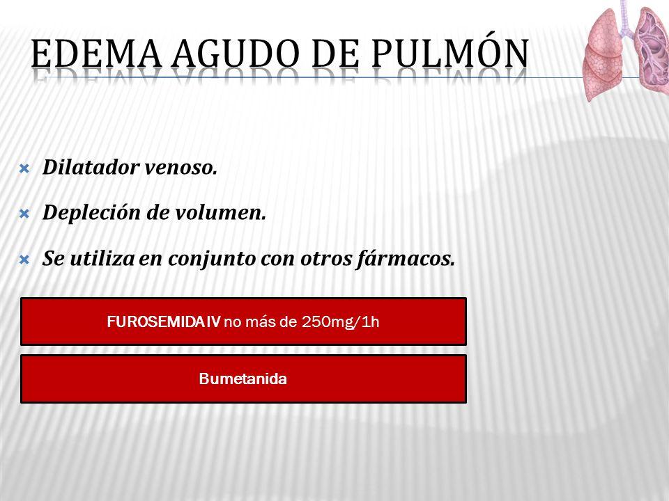 Dilatador venoso. Depleción de volumen. Se utiliza en conjunto con otros fármacos. FUROSEMIDA IV no más de 250mg/1h Bumetanida