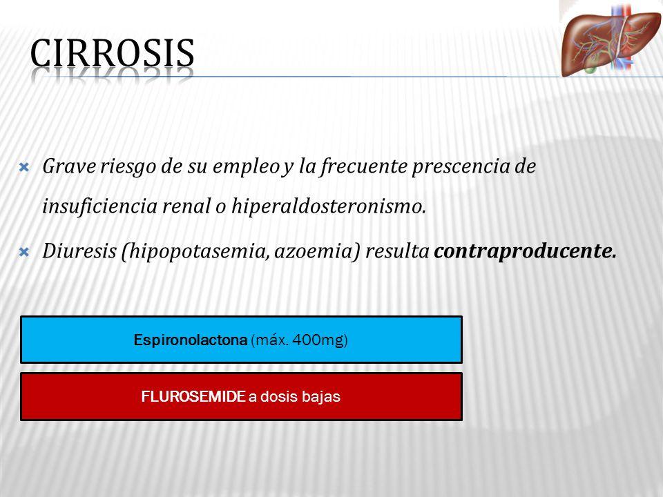Grave riesgo de su empleo y la frecuente prescencia de insuficiencia renal o hiperaldosteronismo. Diuresis (hipopotasemia, azoemia) resulta contraprod