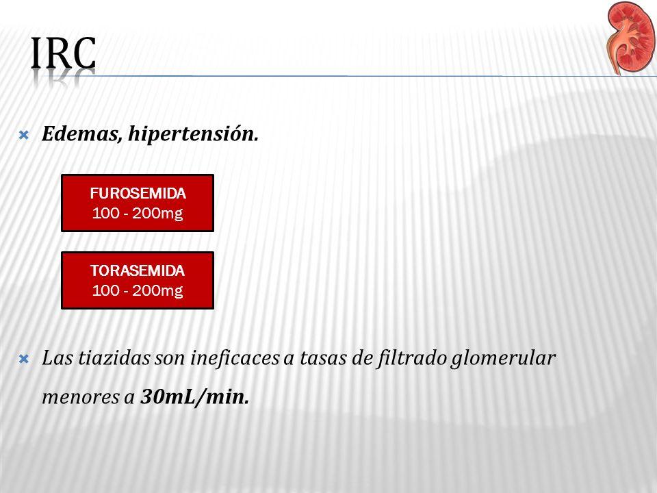 Edemas, hipertensión. Las tiazidas son ineficaces a tasas de filtrado glomerular menores a 30mL/min. FUROSEMIDA 100 - 200mg TORASEMIDA 100 - 200mg