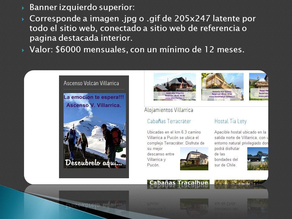 Banner izquierdo superior: Corresponde a imagen.jpg o.gif de 205x247 latente por todo el sitio web, conectado a sitio web de referencia o pagina desta