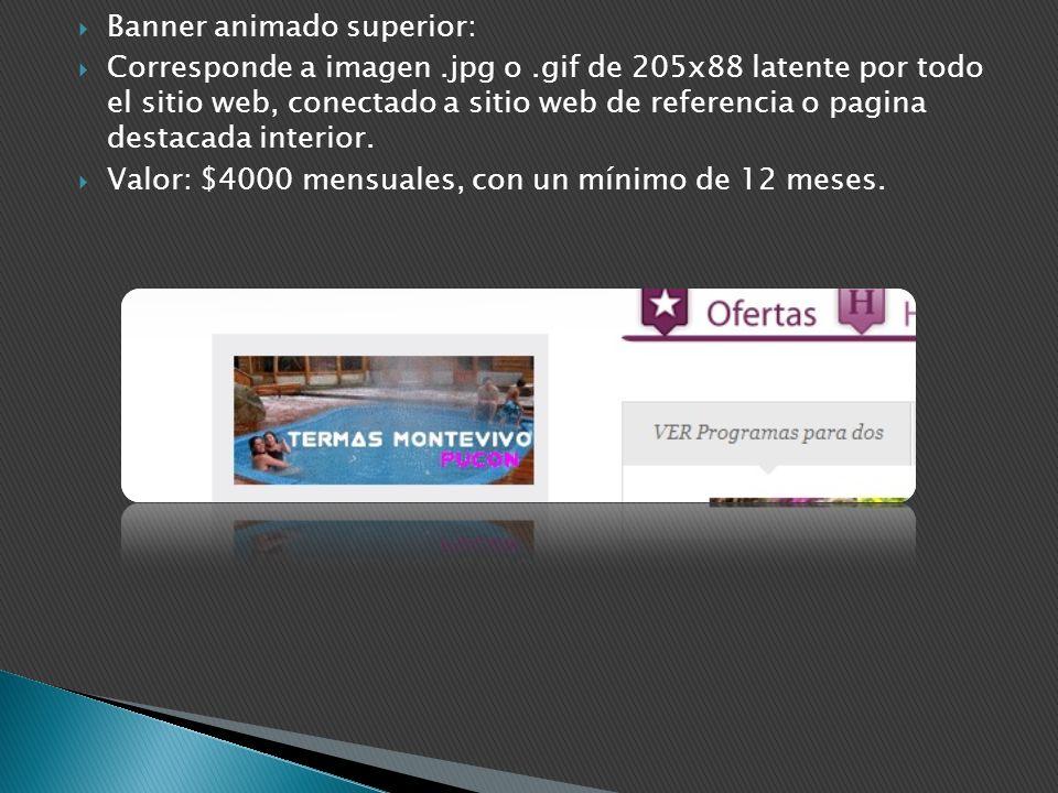 Banner animado superior: Corresponde a imagen.jpg o.gif de 205x88 latente por todo el sitio web, conectado a sitio web de referencia o pagina destacad