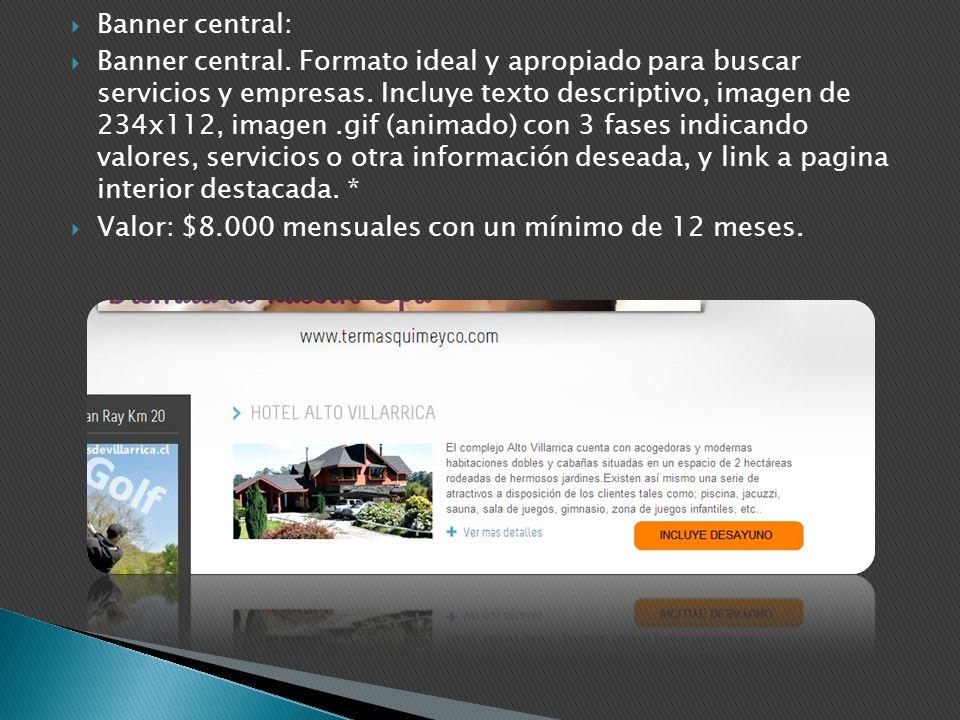 Banner central: Banner central. Formato ideal y apropiado para buscar servicios y empresas. Incluye texto descriptivo, imagen de 234x112, imagen.gif (