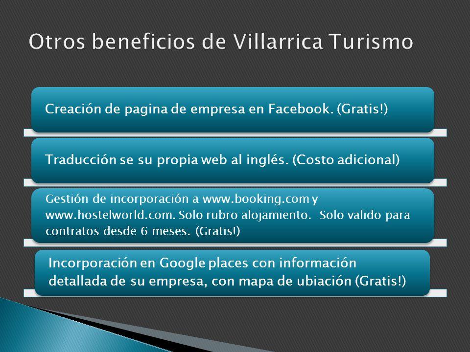 Creación de pagina de empresa en Facebook. (Gratis!) Traducción se su propia web al inglés. (Costo adicional) Gestión de incorporación a www.booking.c