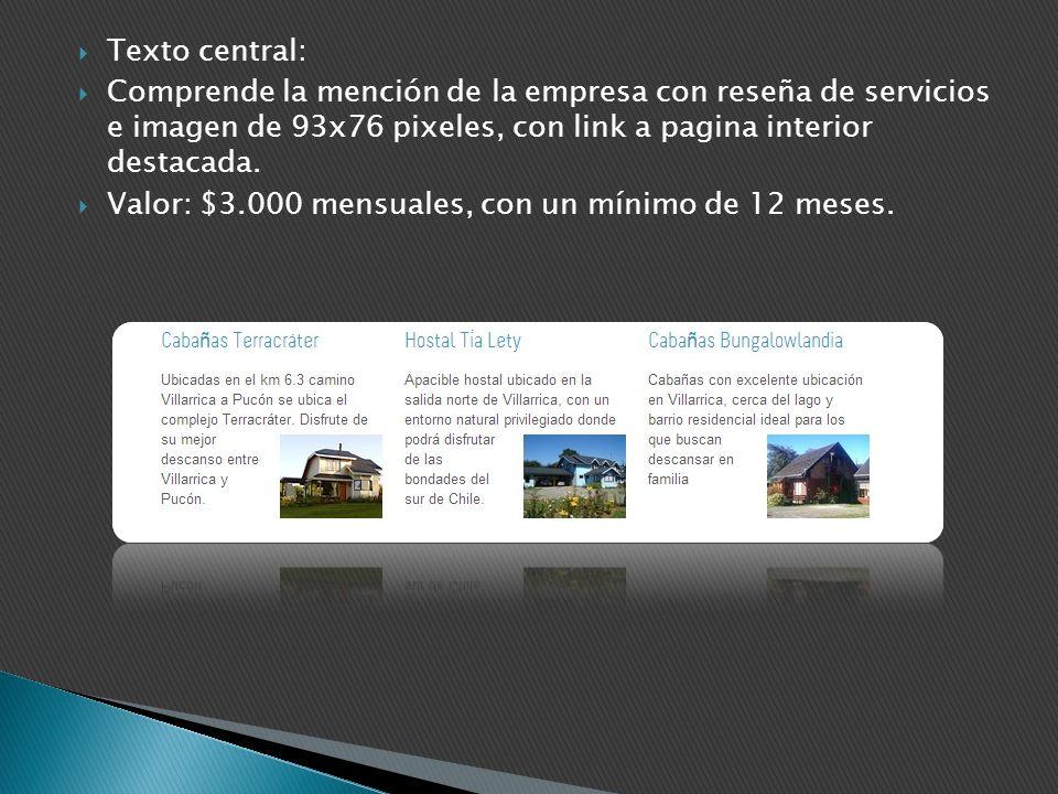 Texto central: Comprende la mención de la empresa con reseña de servicios e imagen de 93x76 pixeles, con link a pagina interior destacada. Valor: $3.0