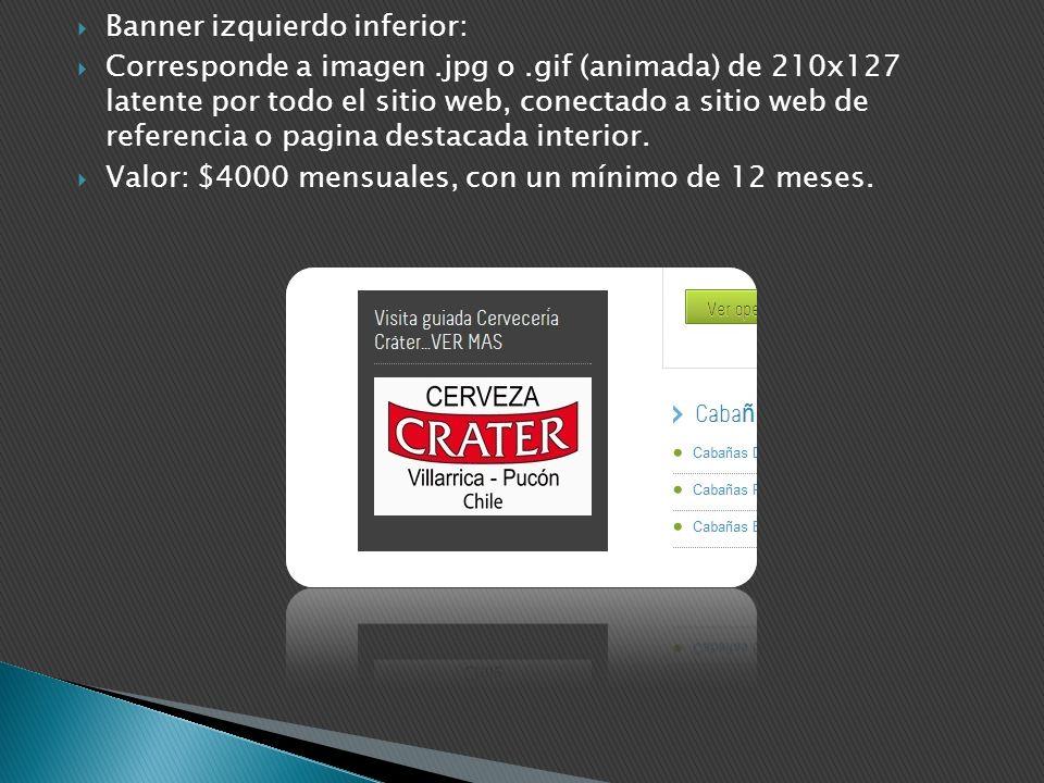 Banner izquierdo inferior: Corresponde a imagen.jpg o.gif (animada) de 210x127 latente por todo el sitio web, conectado a sitio web de referencia o pa