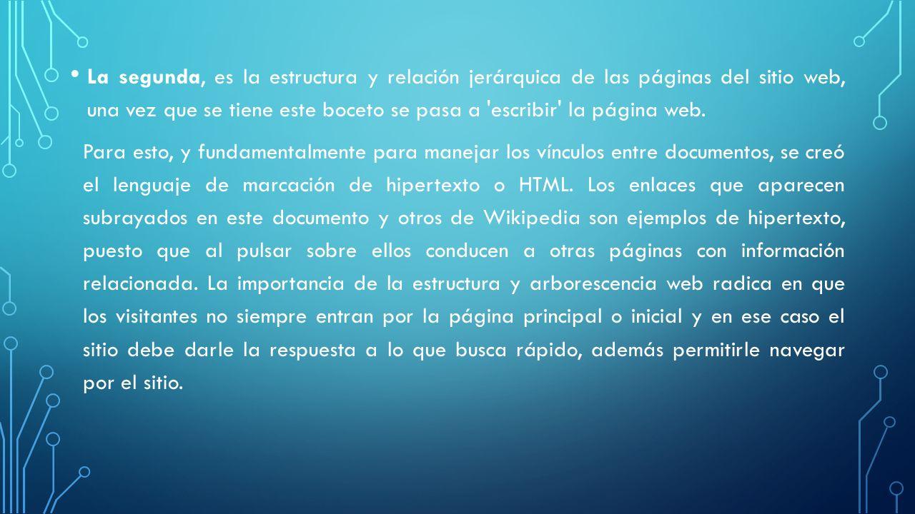La segunda, es la estructura y relación jerárquica de las páginas del sitio web, una vez que se tiene este boceto se pasa a 'escribir' la página web.