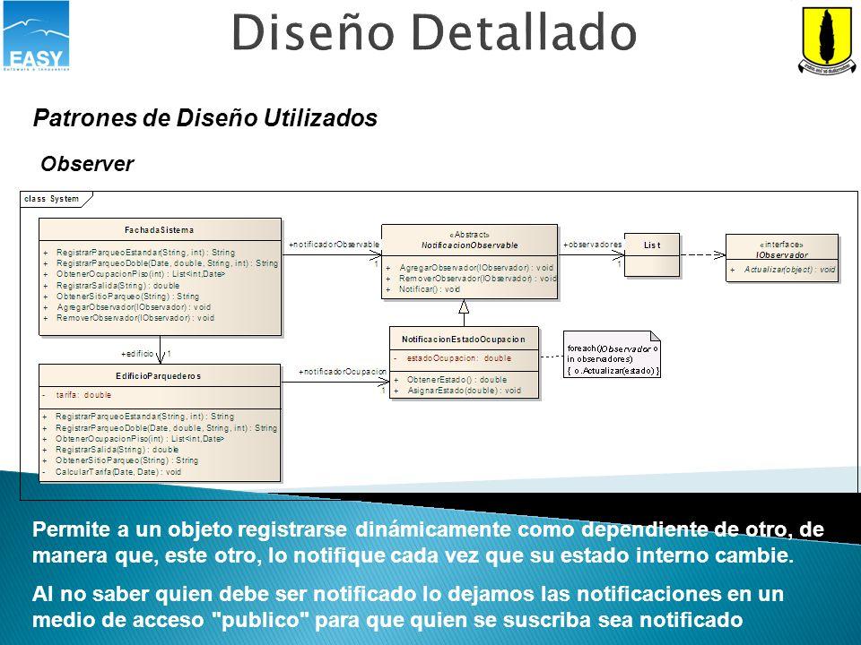 Diseño Detallado Patrones de Diseño Utilizados Observer Permite a un objeto registrarse dinámicamente como dependiente de otro, de manera que, este ot