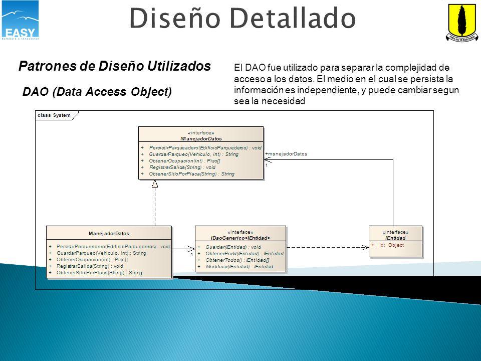 Diseño Detallado Patrones de Diseño Utilizados DAO (Data Access Object) El DAO fue utilizado para separar la complejidad de acceso a los datos. El med