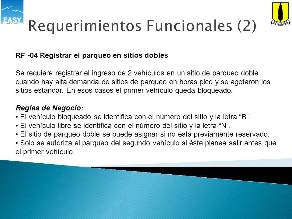 Requerimientos Funcionales (3) RF -05 Autorizar salida de un vehículo Se requiere que el sistema permita autorizar la salida de un vehículo, para lo cual debe notificar el sitio, tiempo de parqueo dado su placa y registrar el valor a cobrar.