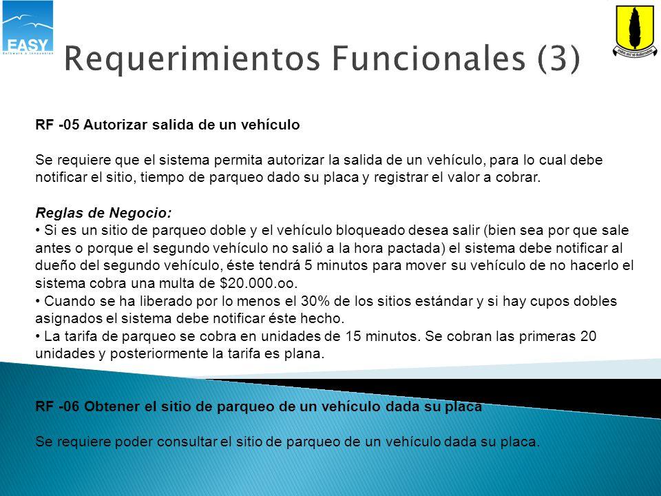 Requerimientos Funcionales (3) RF -05 Autorizar salida de un vehículo Se requiere que el sistema permita autorizar la salida de un vehículo, para lo c