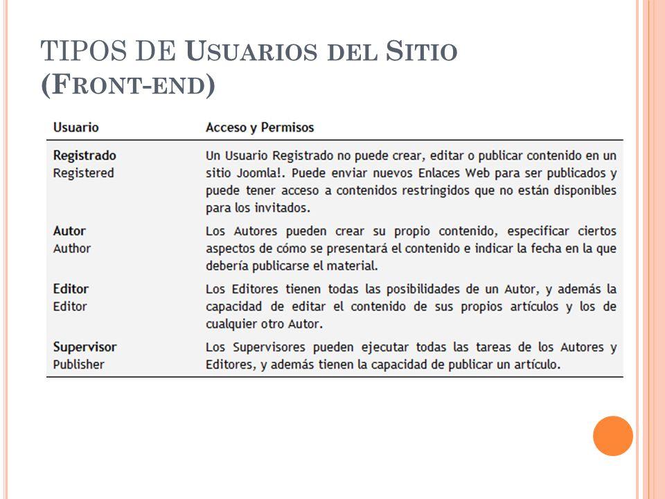TIPOS DE U SUARIOS DEL S ITIO (F RONT - END )
