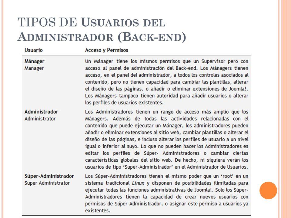 TIPOS DE U SUARIOS DEL A DMINISTRADOR (B ACK - END )