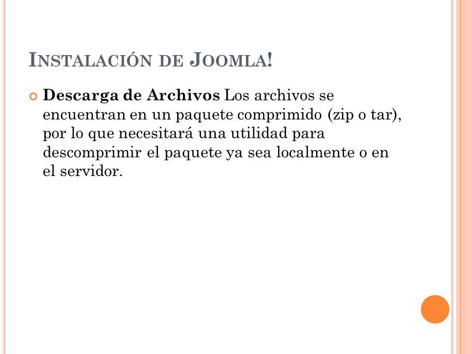 I NSTALACIÓN DE J OOMLA .
