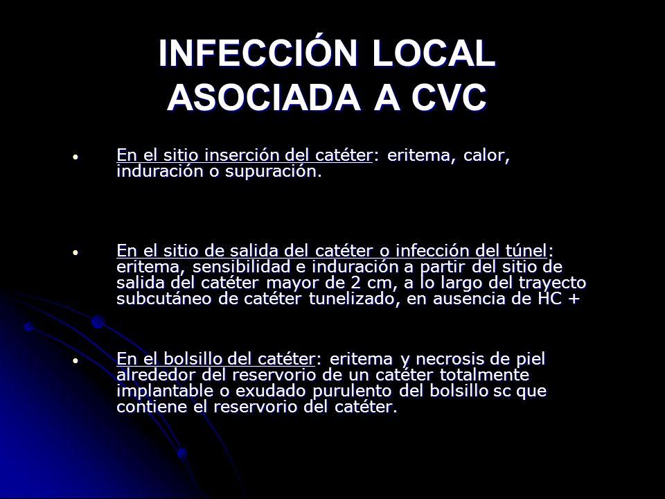 INFECCIÓN LOCAL ASOCIADA A CVC En el sitio inserción del catéter: eritema, calor, induración o supuración. En el sitio inserción del catéter: eritema,