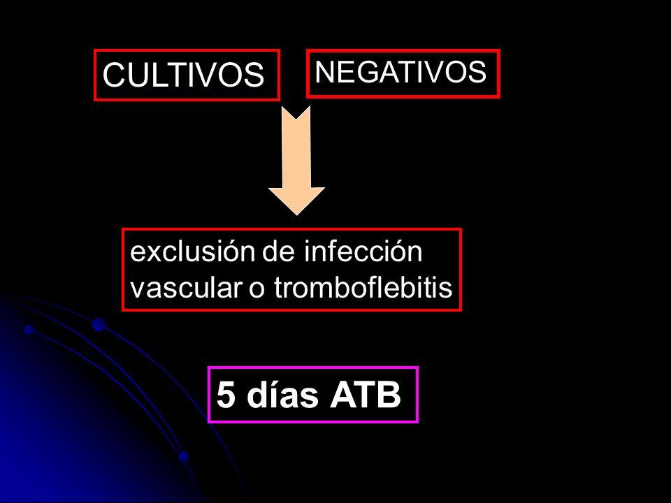 CULTIVOS NEGATIVOS exclusión de infección vascular o tromboflebitis 5 días ATB