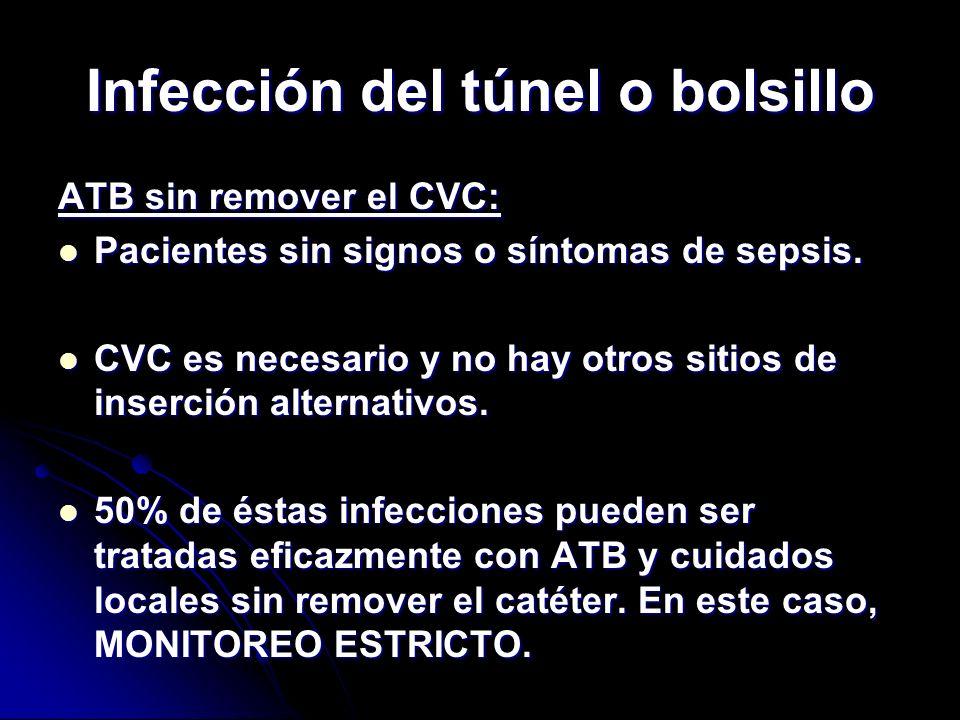 Infección del túnel o bolsillo ATB sin remover el CVC: Pacientes sin signos o síntomas de sepsis. Pacientes sin signos o síntomas de sepsis. CVC es ne