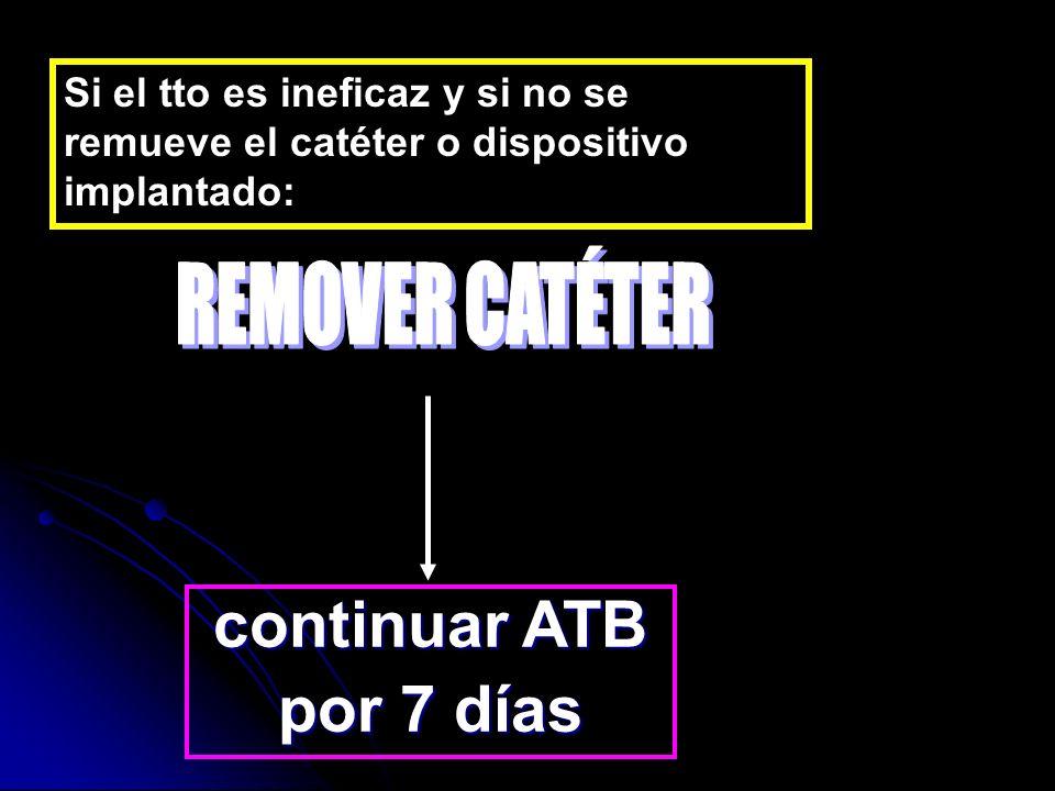 Si el tto es ineficaz y si no se remueve el catéter o dispositivo implantado: continuar ATB por 7 días