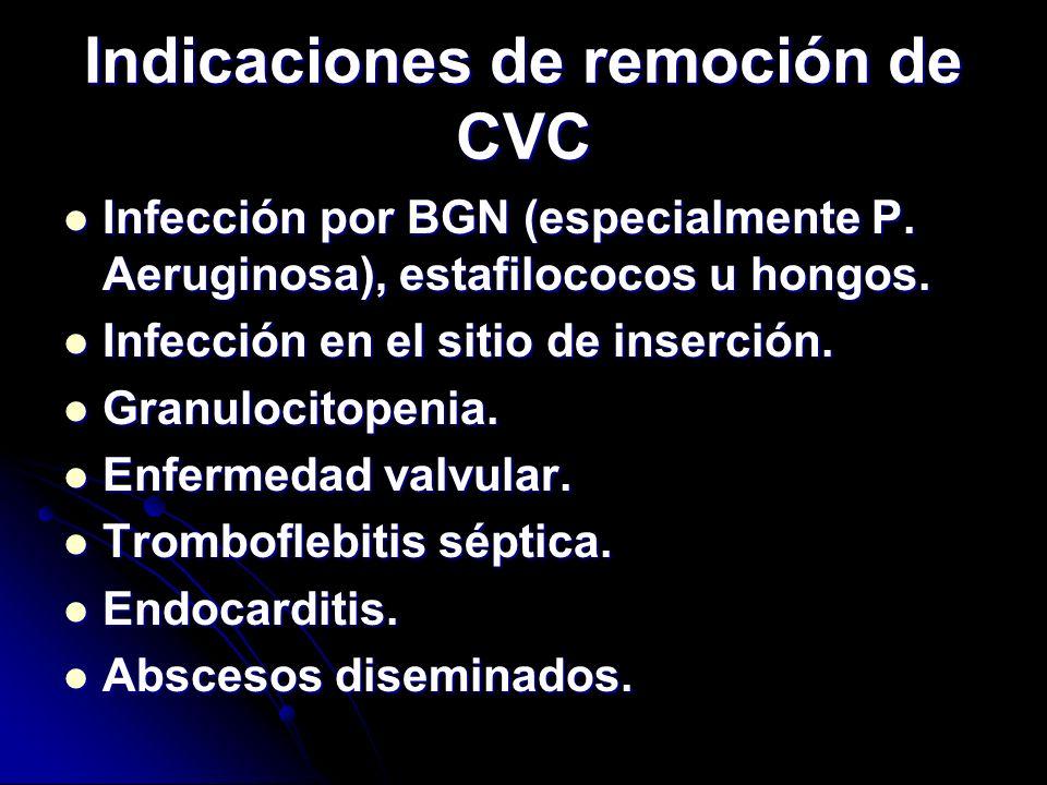 Indicaciones de remoción de CVC Infección por BGN (especialmente P. Aeruginosa), estafilococos u hongos. Infección por BGN (especialmente P. Aeruginos