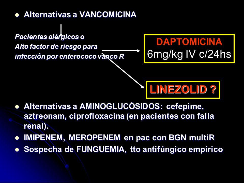 Alternativas a VANCOMICINA Alternativas a VANCOMICINA Pacientes alérgicos o Alto factor de riesgo para infección por enterococo vanco R Alternativas a