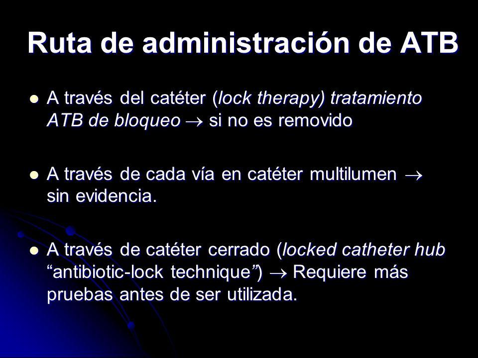 Ruta de administración de ATB A través del catéter (lock therapy) tratamiento ATB de bloqueo si no es removido A través del catéter (lock therapy) tra