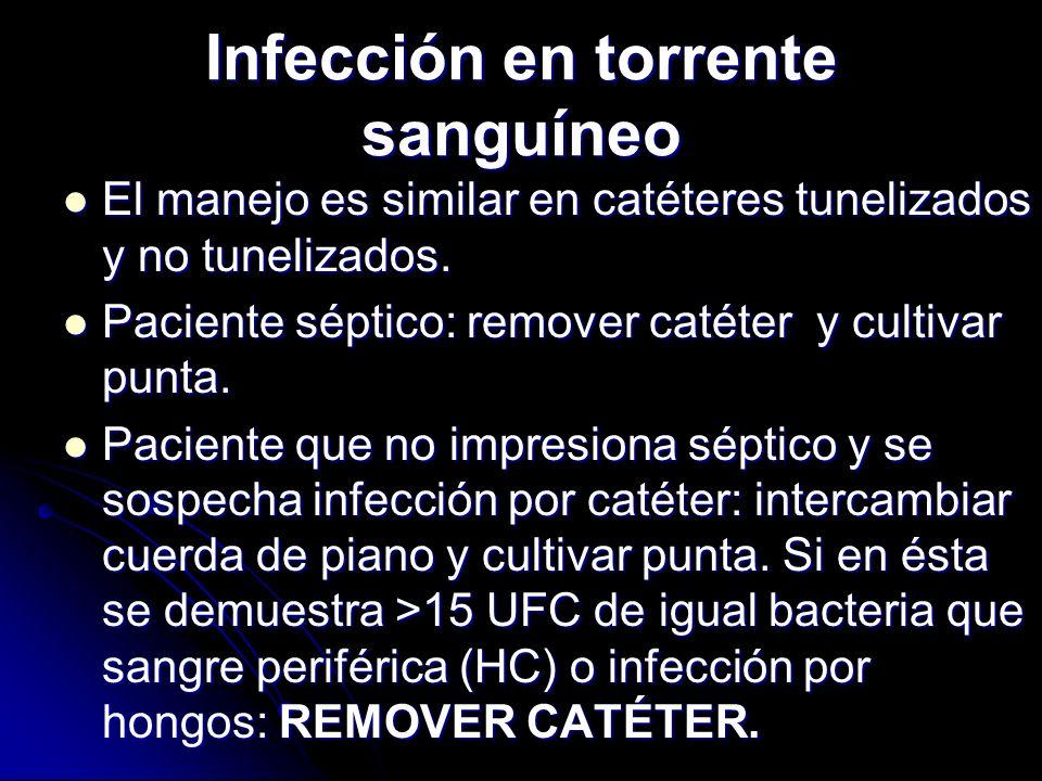 Infección en torrente sanguíneo El manejo es similar en catéteres tunelizados y no tunelizados. El manejo es similar en catéteres tunelizados y no tun
