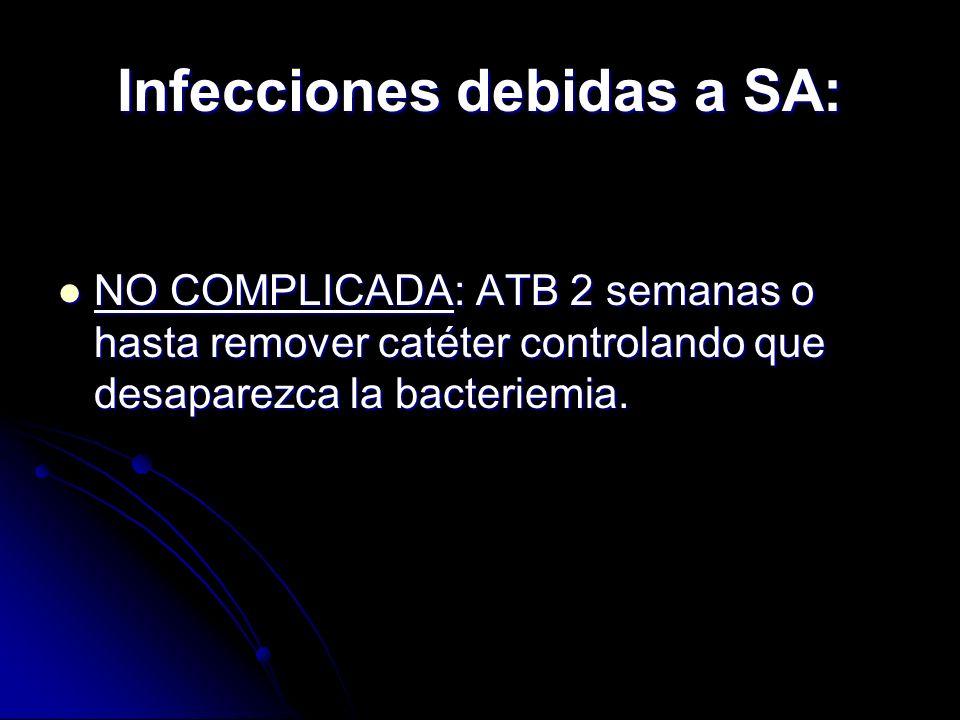 Infecciones debidas a SA: NO COMPLICADA: ATB 2 semanas o hasta remover catéter controlando que desaparezca la bacteriemia. NO COMPLICADA: ATB 2 semana