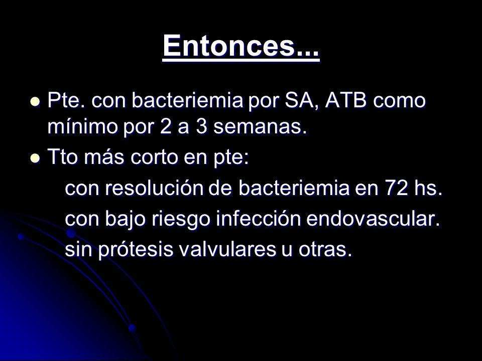 Entonces... Pte. con bacteriemia por SA, ATB como mínimo por 2 a 3 semanas. Pte. con bacteriemia por SA, ATB como mínimo por 2 a 3 semanas. Tto más co