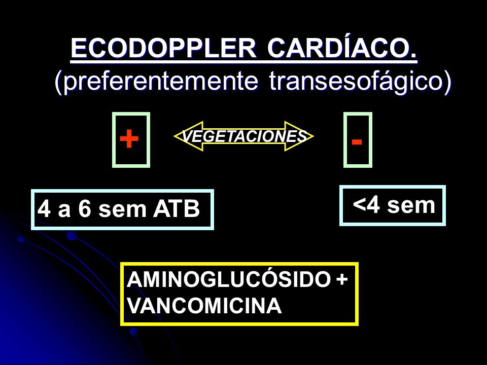 ECODOPPLER CARDÍACO. (preferentemente transesofágico) +- 4 a 6 sem ATB <4 sem AMINOGLUCÓSIDO + VANCOMICINA VEGETACIONES