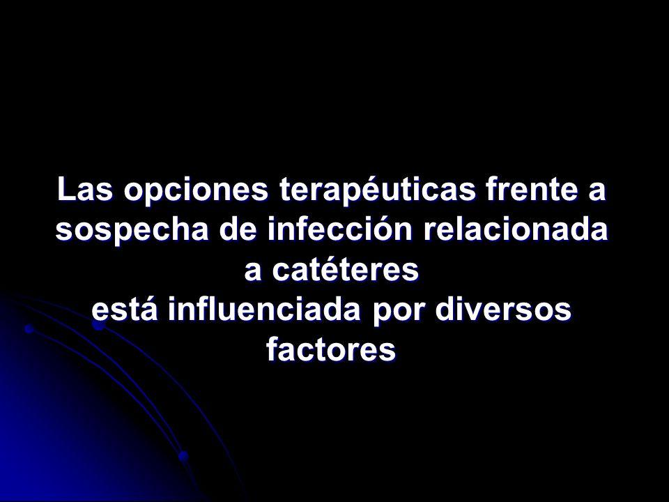 Las opciones terapéuticas frente a sospecha de infección relacionada a catéteres está influenciada por diversos factores