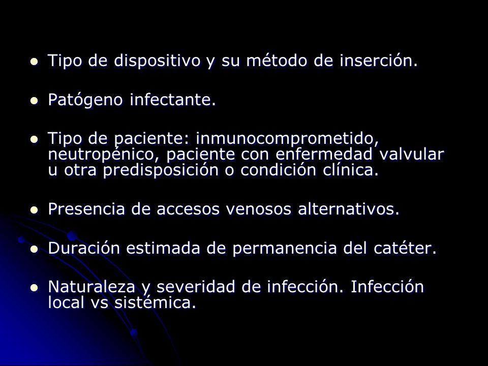 Tipo de dispositivo y su método de inserción. Tipo de dispositivo y su método de inserción. Patógeno infectante. Patógeno infectante. Tipo de paciente