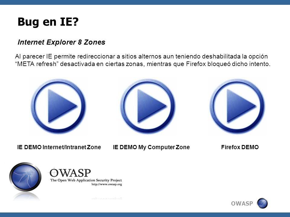OWASP Bug en IE? Al parecer IE permite redireccionar a sitios alternos aun teniendo deshabilitada la opción META refresh desactivada en ciertas zonas,
