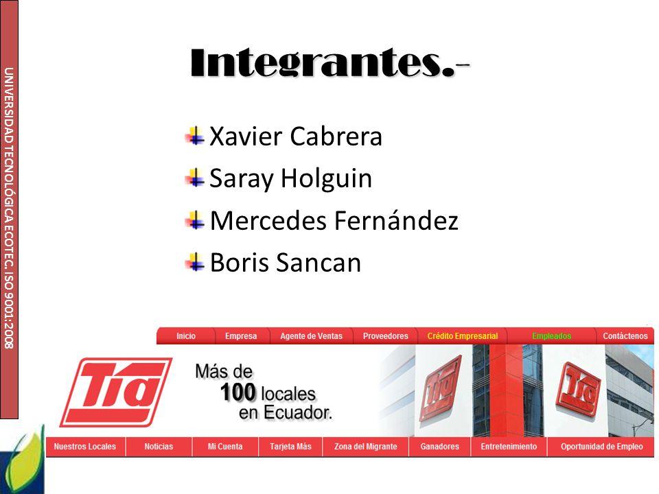 UNIVERSIDAD TECNOLÓGICA ECOTEC. ISO 9001:2008 Integrantes.- Xavier Cabrera Saray Holguin Mercedes Fernández Boris Sancan