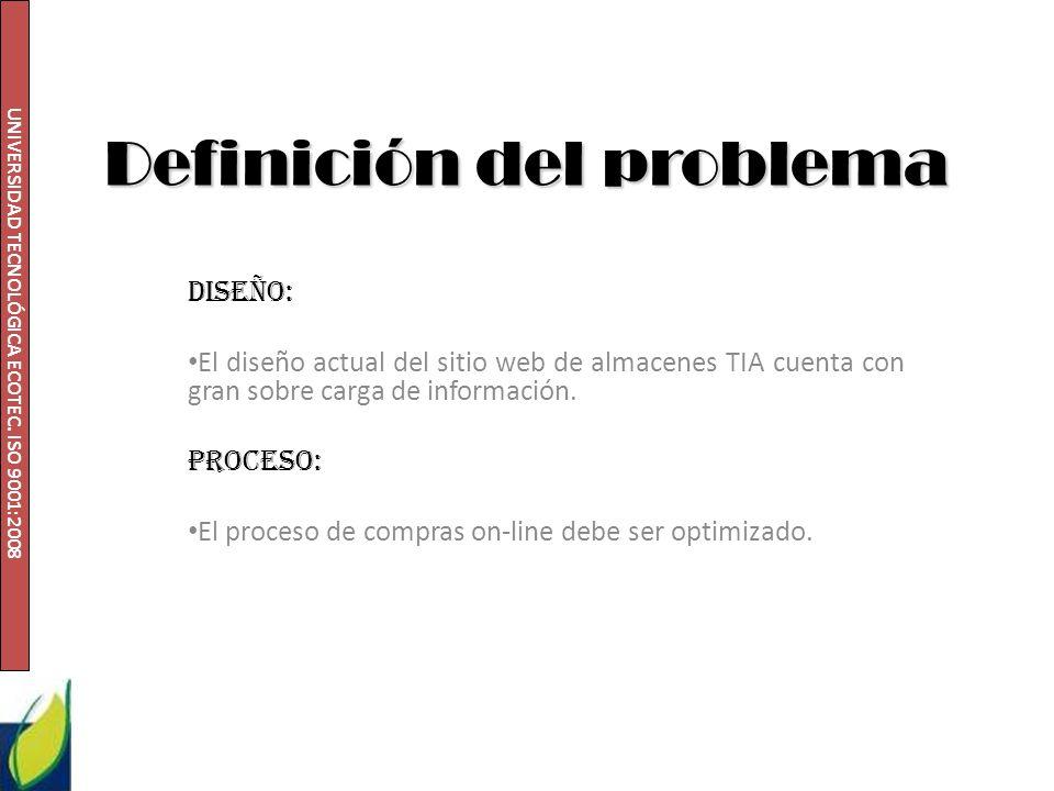UNIVERSIDAD TECNOLÓGICA ECOTEC. ISO 9001:2008 Definición del problema Diseño: El diseño actual del sitio web de almacenes TIA cuenta con gran sobre ca