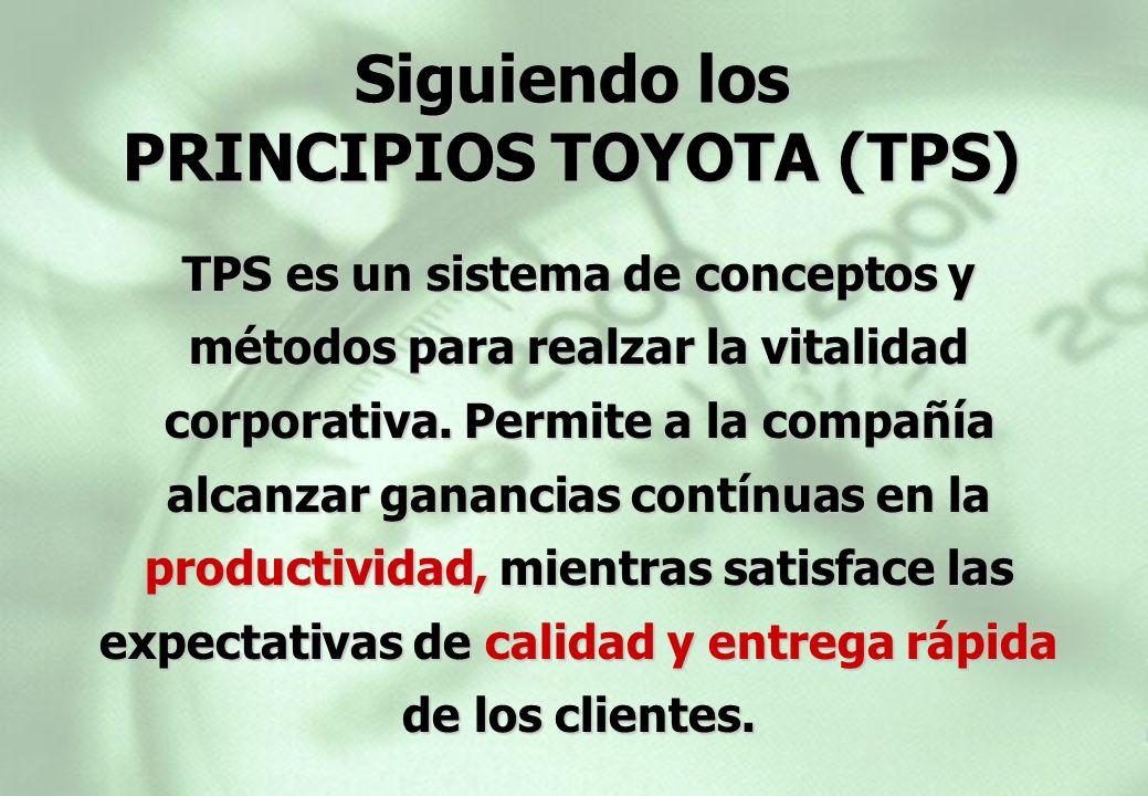 TPS es un sistema de conceptos y métodos para realzar la vitalidad corporativa. Permite a la compañía alcanzar ganancias contínuas en la productividad