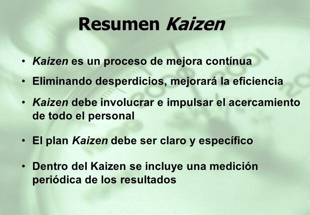 Resumen Kaizen Resumen Kaizen Kaizen es un proceso de mejora contínua Eliminando desperdicios, mejorará la eficiencia El plan Kaizen debe ser claro y