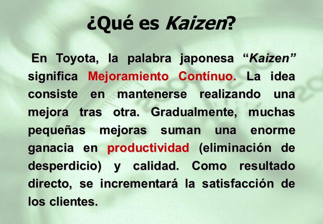 En Toyota, la palabra japonesa Kaizen significa Mejoramiento Contínuo. La idea consiste en mantenerse realizando una mejora tras otra. Gradualmente, m