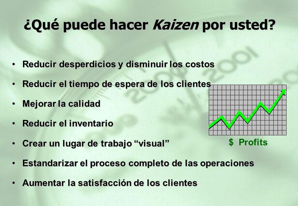 $ Profits ¿Qué puede hacer Kaizen por usted? Reducir desperdicios y disminuir los costosReducir desperdicios y disminuir los costos Reducir el tiempo
