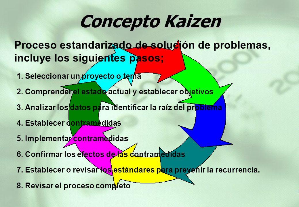 1. Seleccionar un proyecto o tema 2. Comprender el estado actual y establecer objetivos 3. Analizar los datos para identificar la raíz del problema 4.