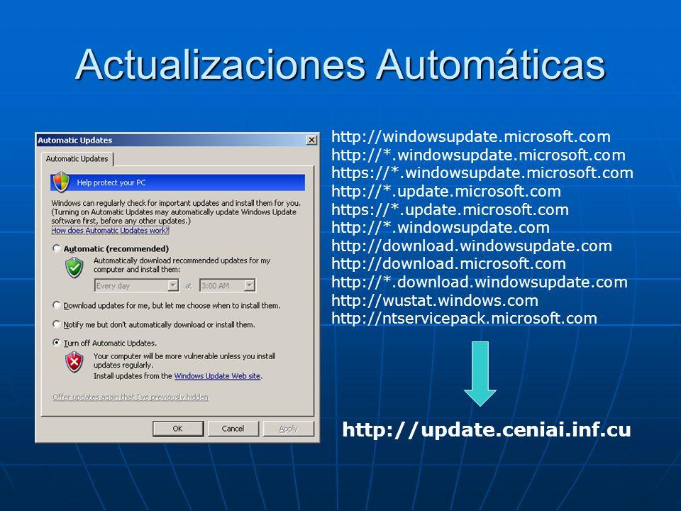 Actualizaciones Automáticas http://windowsupdate.microsoft.com http://*.windowsupdate.microsoft.com https://*.windowsupdate.microsoft.com http://*.upd