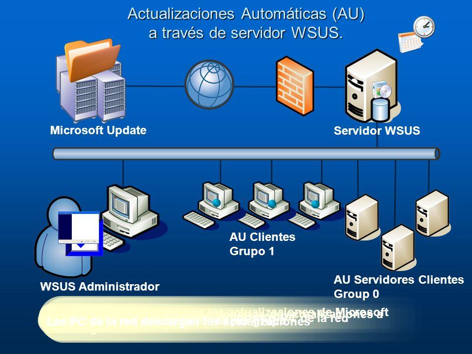 El administrador define las categorias de actualizaciones a descargar El servidor WSUS descarga las actualizaciones de Microsoft Update Las PC de la r